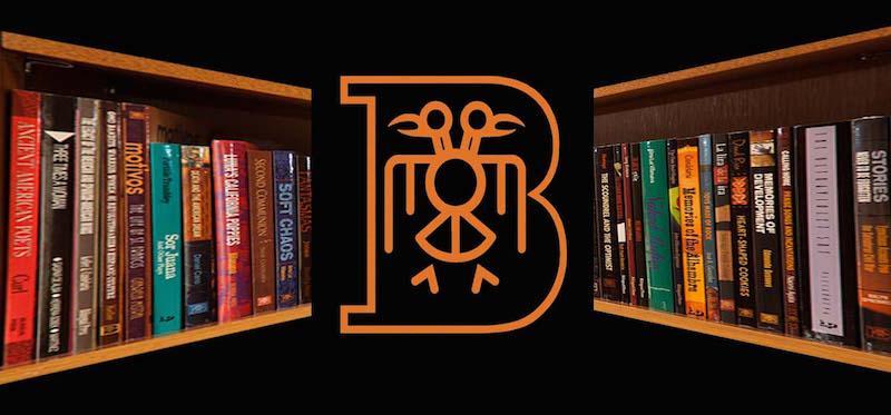 BP logo and book shelves